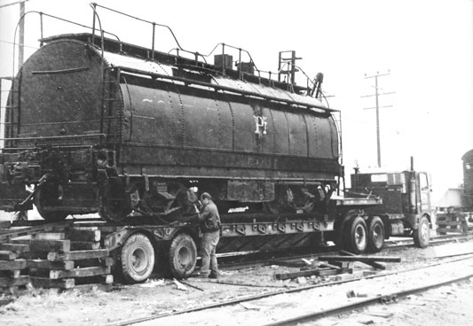 Southern Pacific Tender loaded on truck